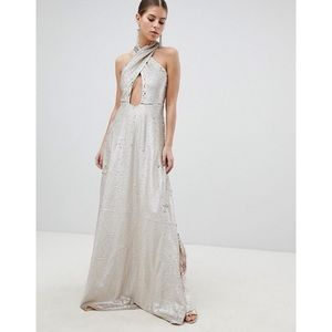 Asos Club L Cross Front Wrap Sequin Maxi Dress